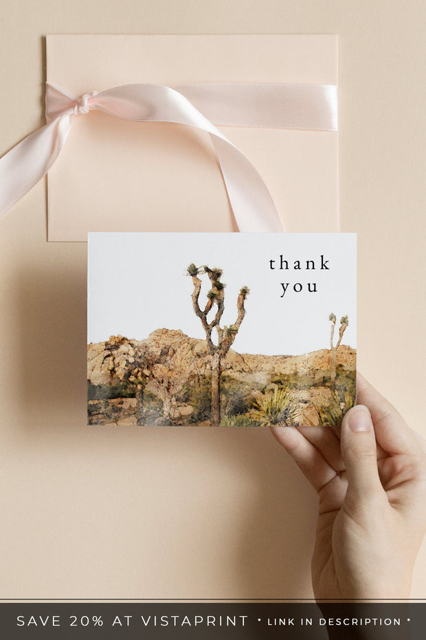 GRETA | Watercolor Joshua Tree Printable Thank You Card Template