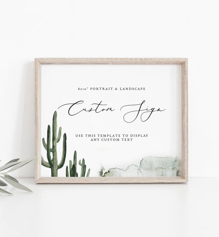 "Eleanor - Bohemian Cactus Wedding Custom 8x10"" Sign Template - Unmeasured Events"