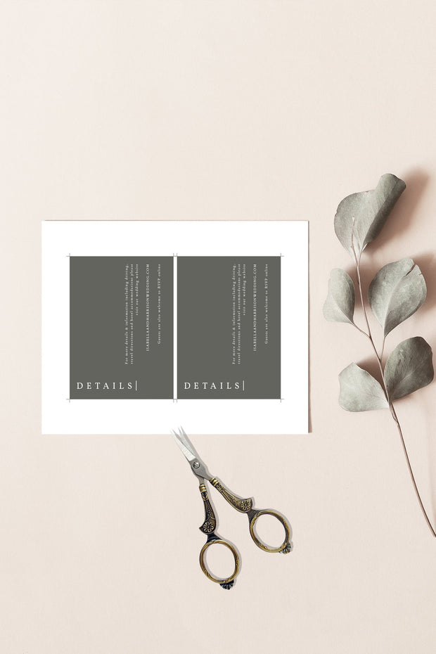 NINA | Minimalist Sage Green Bohemian Wedding Enclosure Card Template