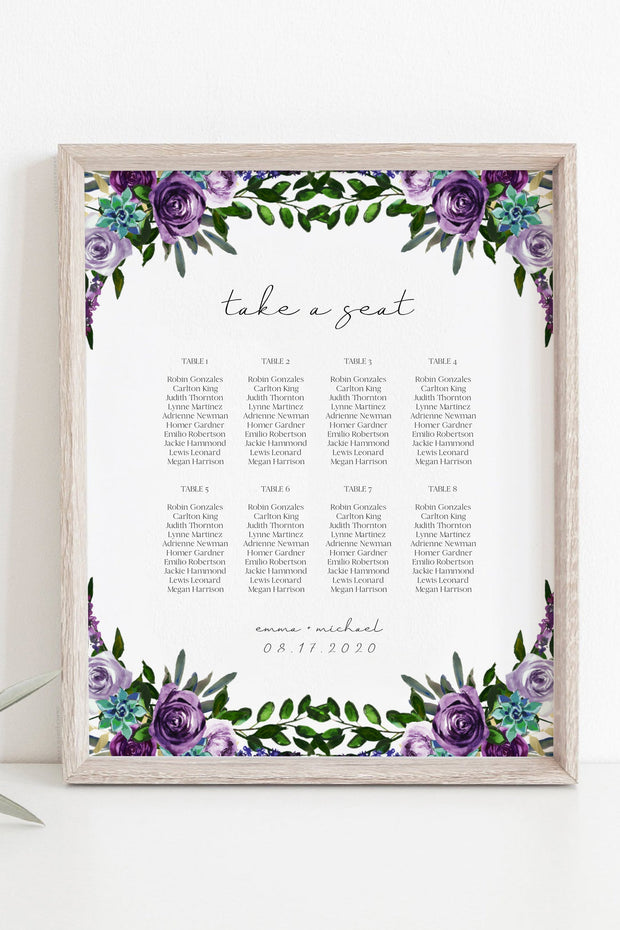 OLIVIA | Purple Floral and Succulent Printable Small Seating Chart Template