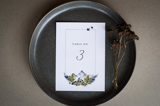 SIERRA | Boho Mountain Printable Table Number Template