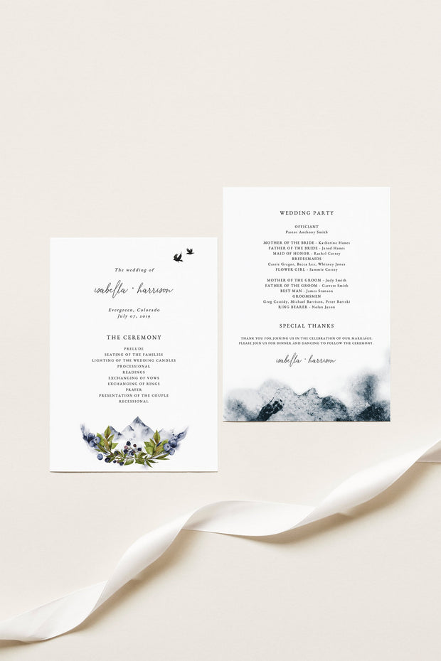 SIERRA | Boho Mountain Printable Wedding Program Template