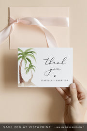 FIONA | Watercolor Palm Tree Printable Thank You Card Template