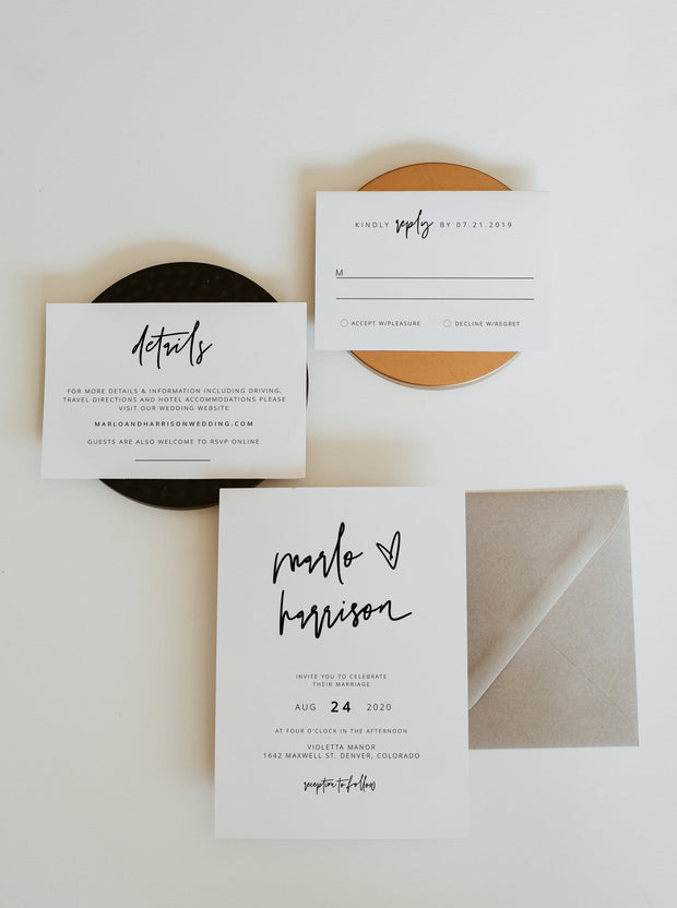 Marlo - Bold Modern Minimalist Wedding Invitation Template Suite