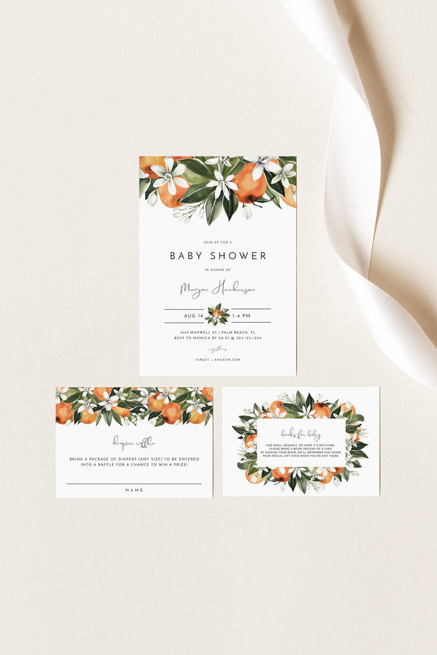 CALLIOPE | Watercolor Orange Blossom Printable Baby Shower Invitation Template Suite