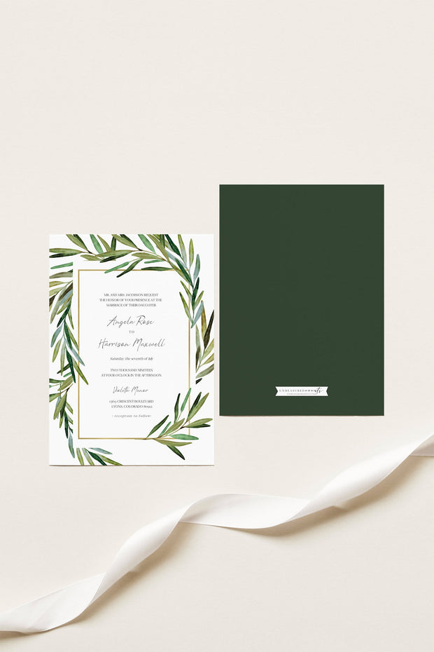 JUNIPER | Rosemary Greenery and Gold Wedding Invitation Template