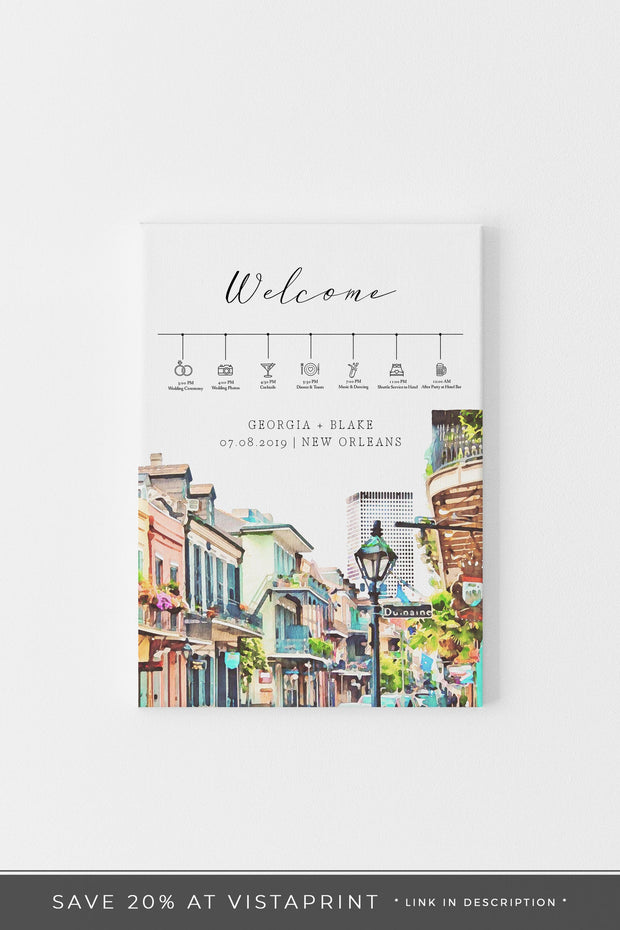 NOLA | Watercolor New Orleans French Quarter Printable Wedding Timeline Sign Template