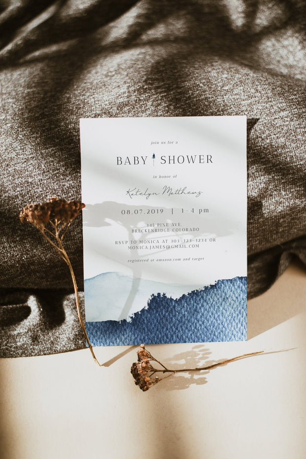 Zuri - Slate Blue Mountain Baby Shower Invitation Template