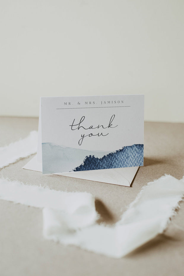 ZURI | Slate Blue Watercolor Mountain Thank You Card Template