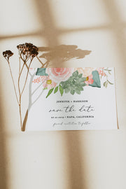 FINLEY | Rustic Peach Floral & Succulent Wedding Save the Date Template