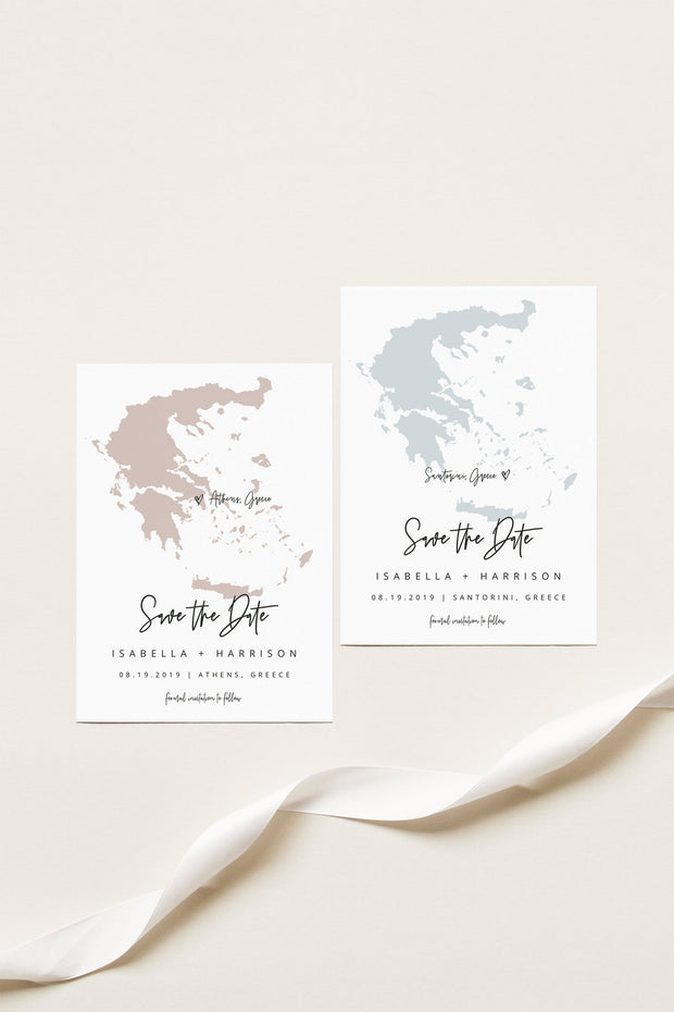 Quinn - Greece Map Save the Date Postcard Template