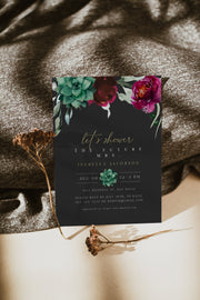 Amy - Moody Burgundy Floral and Succulent Bridal Shower Invitation Template - Unmeasured Events