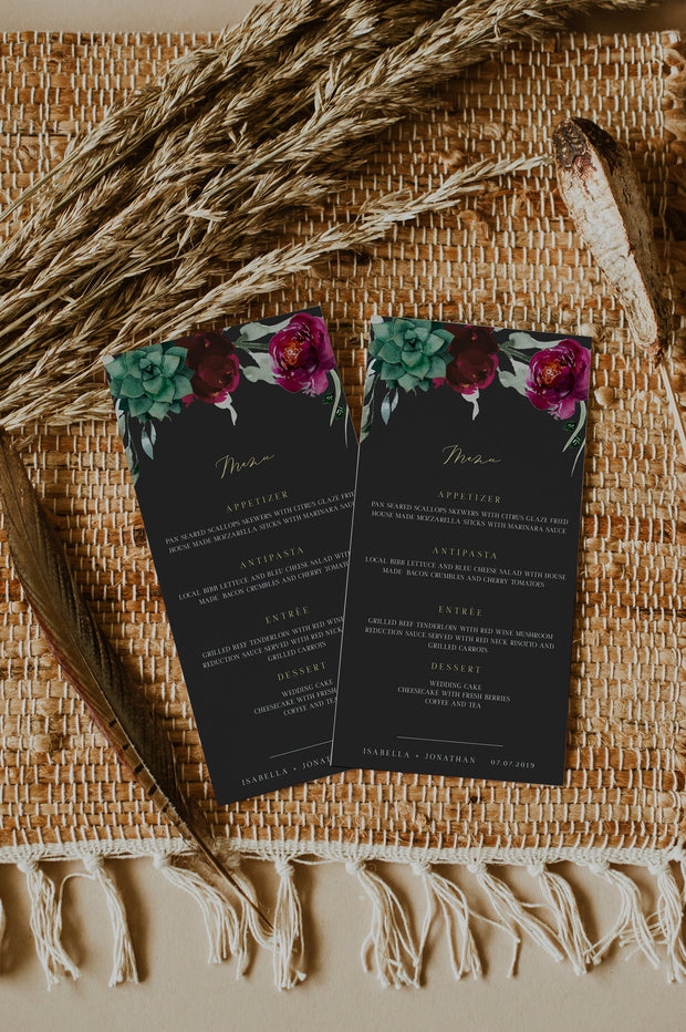 Amy - Burgundy Floral and Succulent Wedding Menu Template