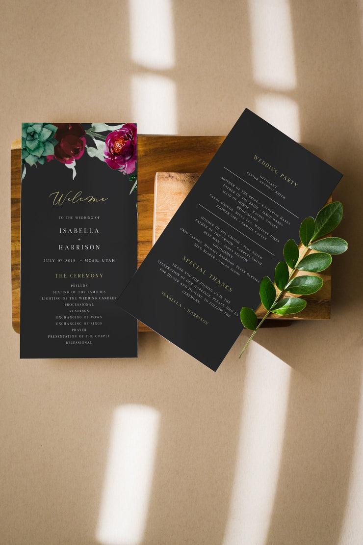 Amy - Burgundy Floral and Succulent Wedding Program Template