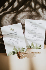 JENNA | Rustic Pine Tree Bachelorette Weekend Invitation & Itinerary Template