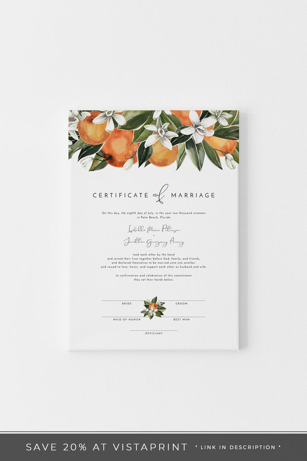CALLIOPE | Orange Citrus Editable Marriage Certificate Printable Template