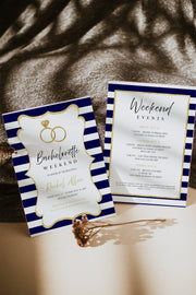 KRISTA | Navy Striped and Gold Bachelorette Invitation & Itinerary Template