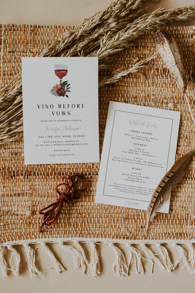 DEMI | Vino Before Vows Napa Winery Bachelorette Invitation & Itinerary Template