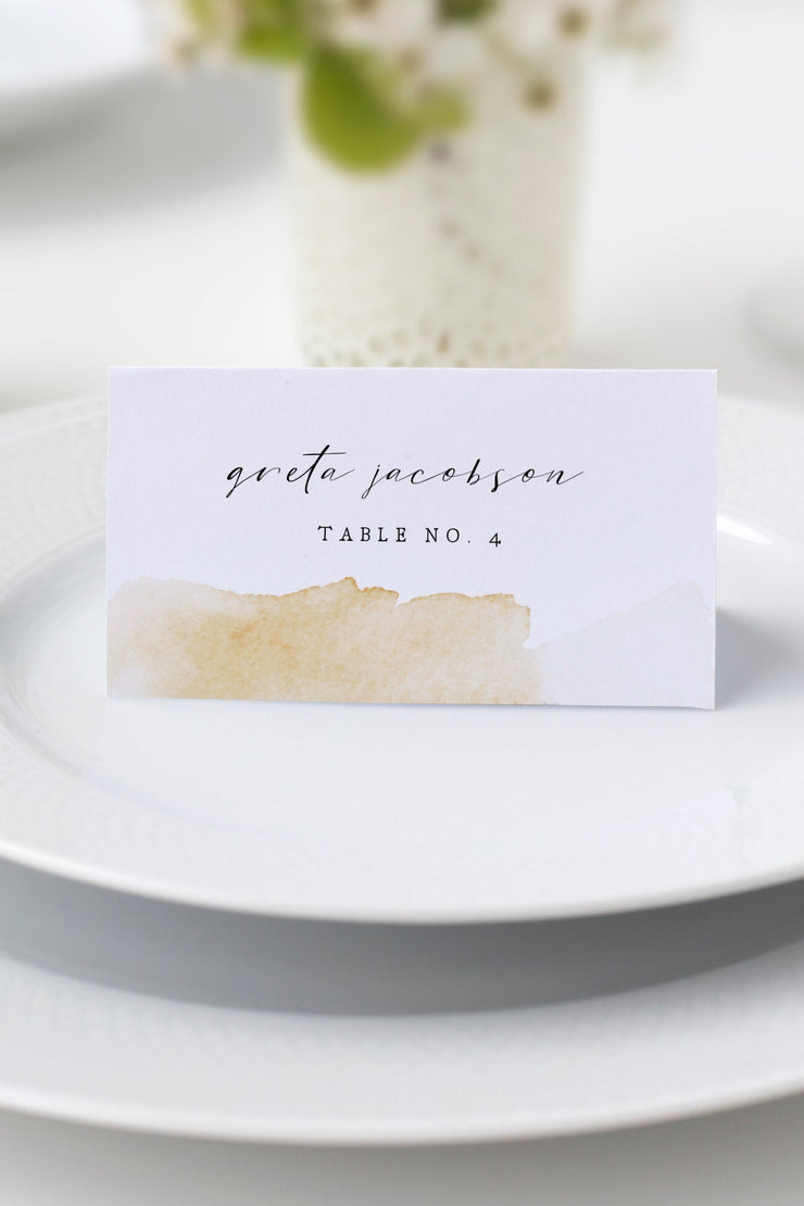 NOLA | Yellow Watercolor Splash Printable Wedding Place Card Template