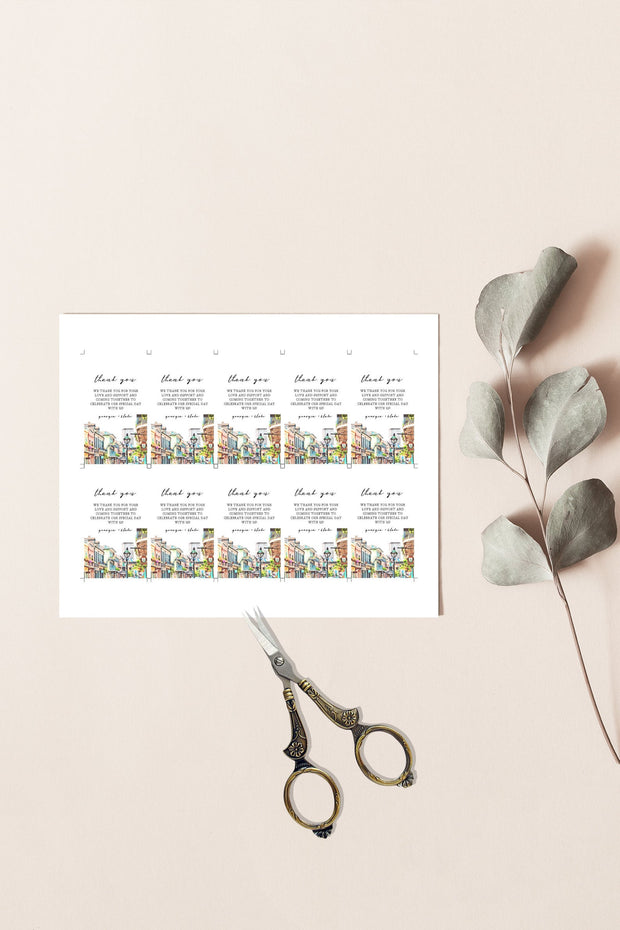 NOLA | Watercolor New Orleans French Quarter Printable Favor Tag Template