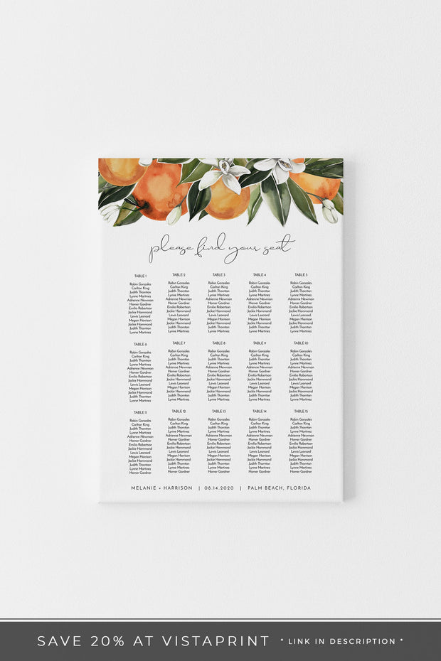 CALLIOPE | Watercolor Orange Blossom Printable Seating Chart Template