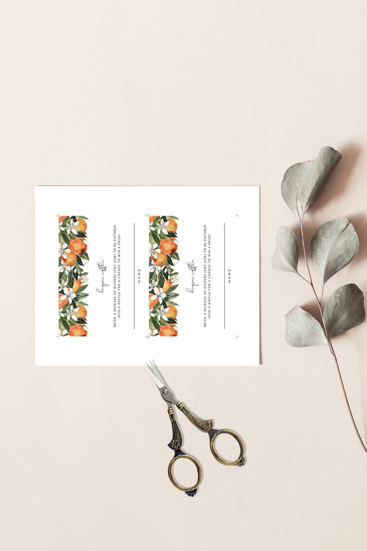 CALLIOPE | Watercolor Orange Blossom Printable Diaper Raffle Ticket Template