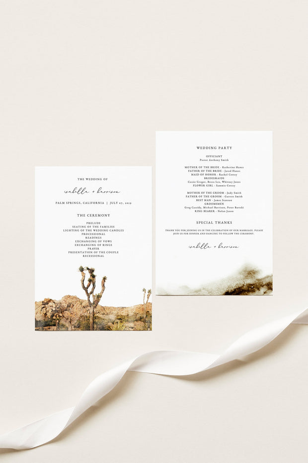 GRETA | Watercolor Joshua Tree Printable Wedding Program Template
