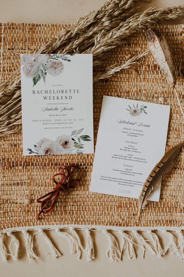 ROBYN | Blush Floral Bachelorette Invitation and Itinerary Template
