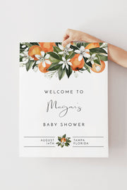 CALLIOPE | Orange Citrus Printable Baby Shower Welcome Sign Template