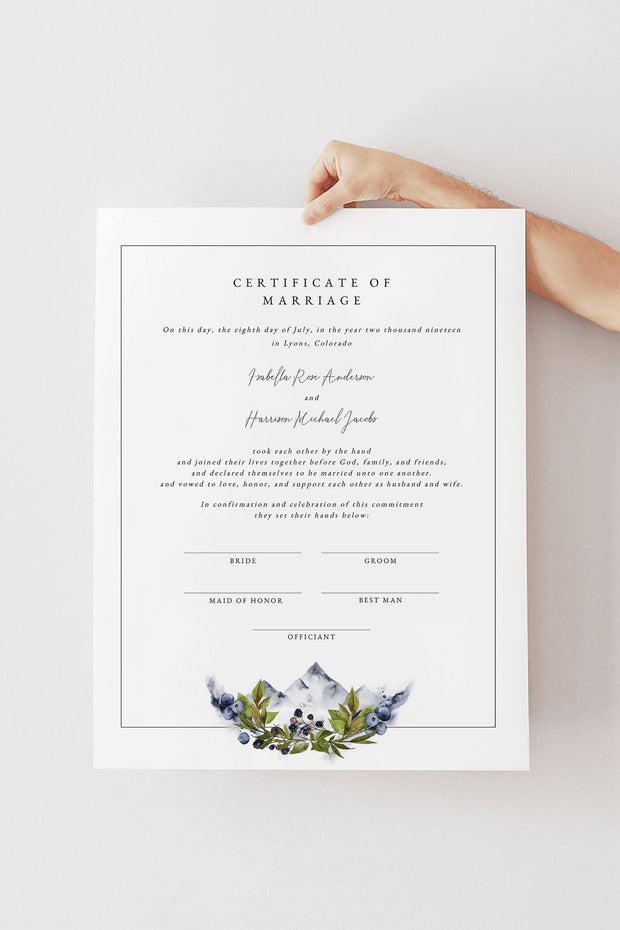 SIERRA | Boho Mountain Printable Wedding Marriage Certificate Template
