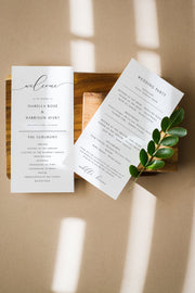 Asher - Minimalist Calligraphy Wedding Program Template - Unmeasured Events