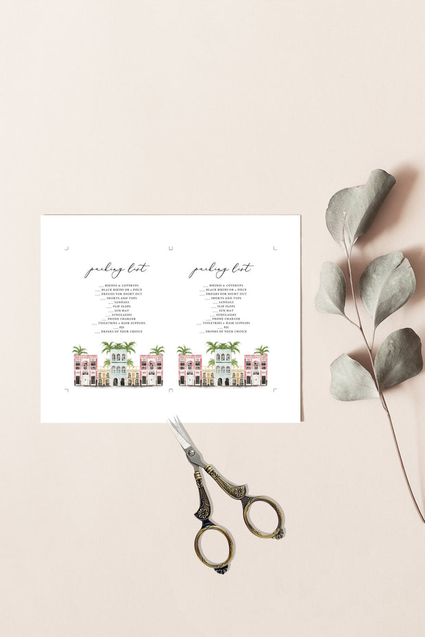 FIONA | Watercolor Charleston Bachelorette Packing List Enclosure Template