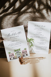 FIONA | Watercolor Charleston Bachelorette Invitation & Itinerary Template