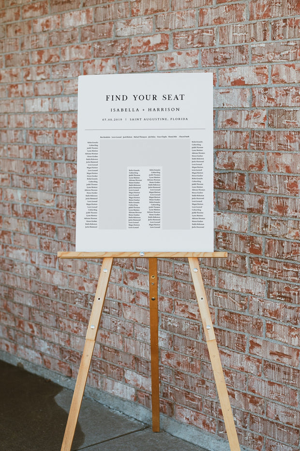 Harper - Minimalist Clean Wedding U-Shaped Seating Chart Template