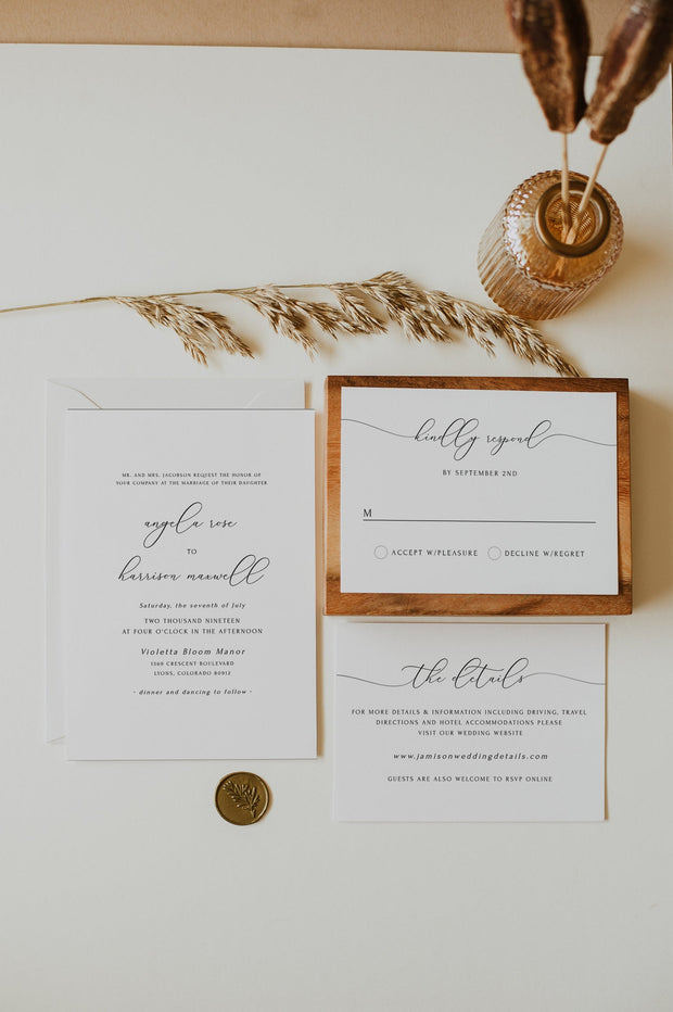 Asher - Minimalist Calligraphy Wedding Invitation Template Bundle
