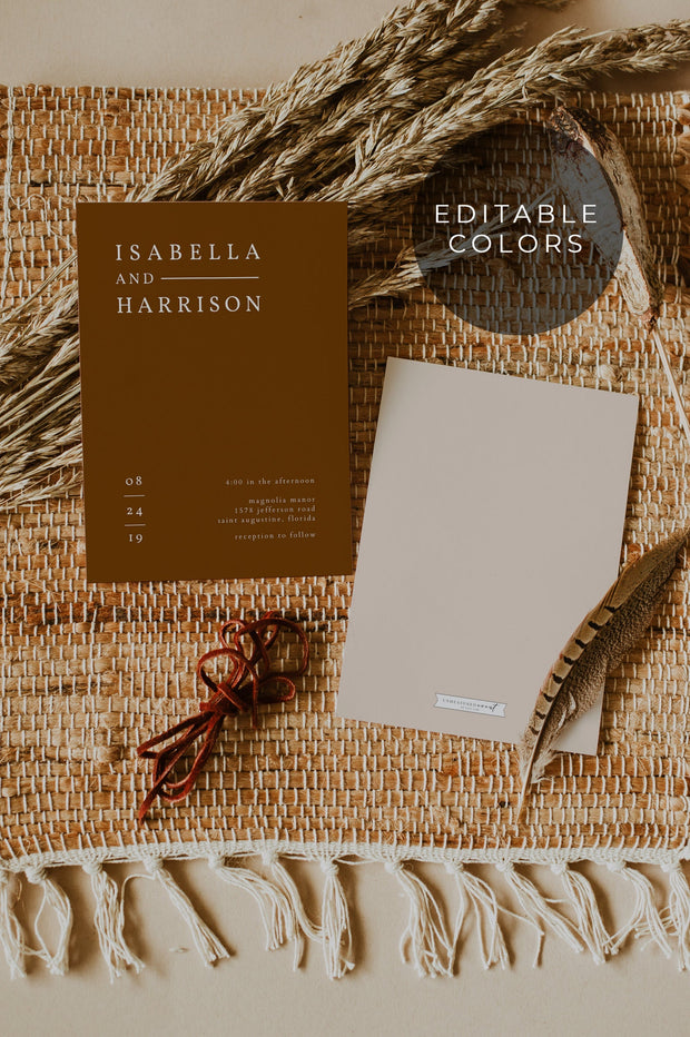 NINA | Minimalist Sage Green Bohemian Wedding Invitation Template Suite