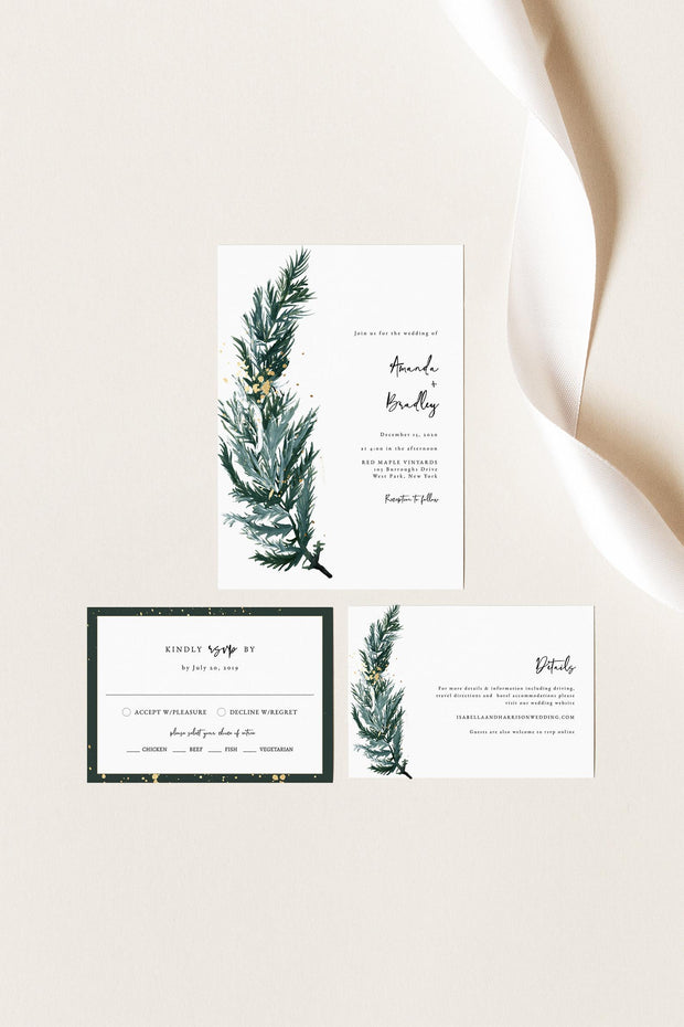 BEATA | Winter Pine Printable Wedding Invitation Template Suite