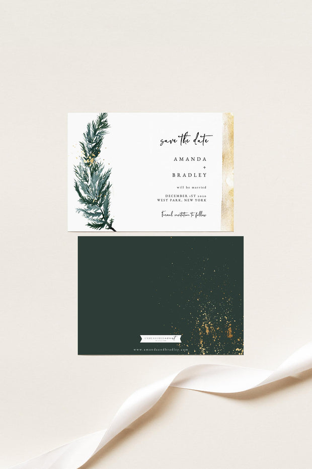 BEATA | Winter Pine Printable Wedding Save the Date Template