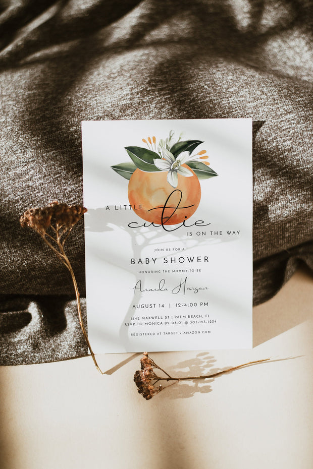 CALLIOPE | A Little Cutie Is On The Way Orange Baby Shower Invitation Template
