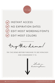EVELYN | Elegant Modern Minimalist Printable Wedding Invitation Template Suite