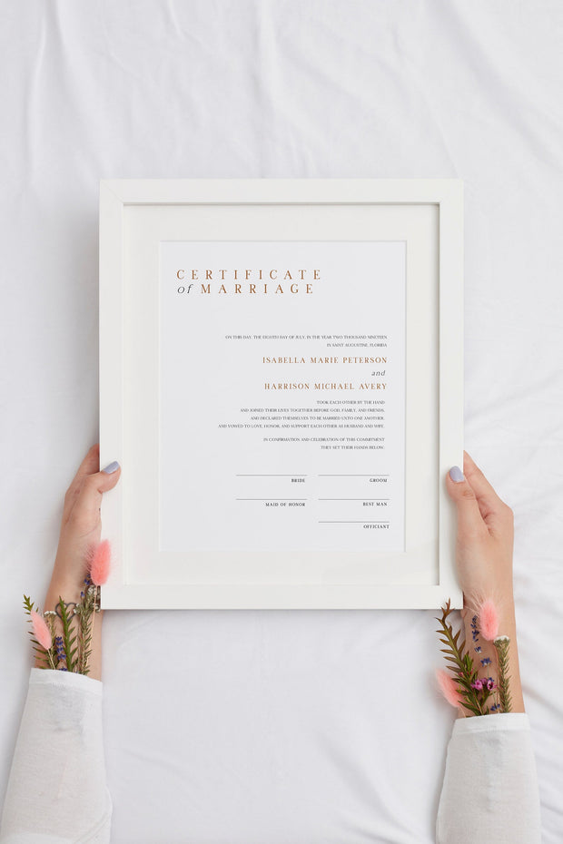 Mia - Burnt Orange Minimal Marriage Certificate Template - Unmeasured Events