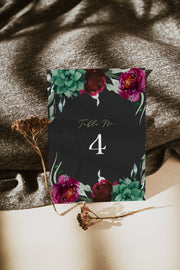 Amy - Burgundy Floral and Succulent Wedding Table Number Template