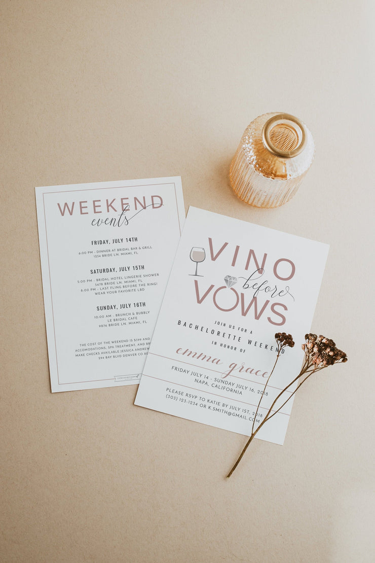 Rose Gold Vino Before Vows Bachelorette Invitation & Itinerary Template