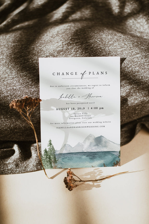 Clover - Mountain Lake Change of Plans Announcement Template