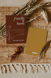 FARRAH | Burnt Orange Bohemian 70's Earth Child Wedding Invitation Template Suite