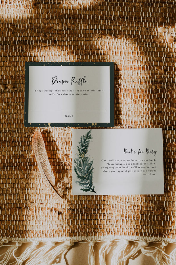 BEATA | Winter Pine Printable Baby Shower Invitation Template Suite