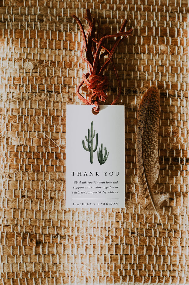 Eleanor - Bohemian Cactus Wedding Favor Tag Template - Unmeasured Events
