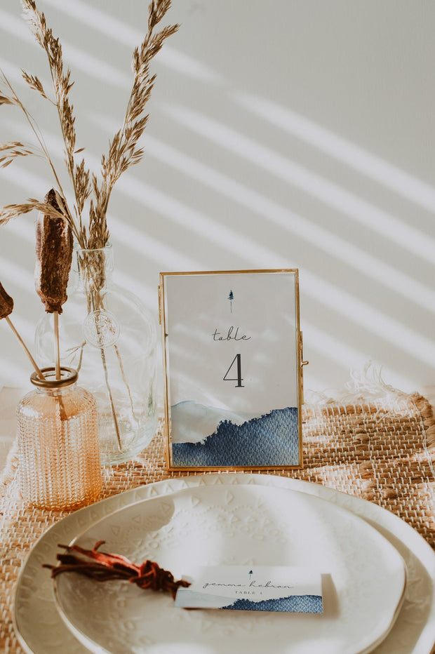 ZURI | Slate Blue Watercolor Mountain Wedding Table Number Template