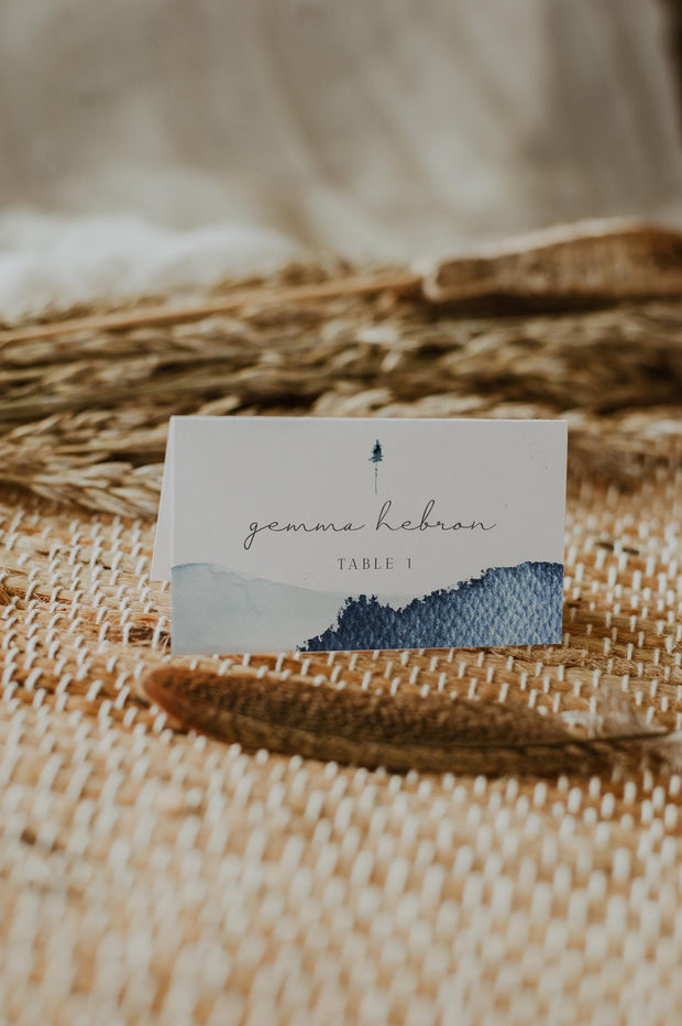 Zuri - Slate Blue Mountain Wedding Place Card Template