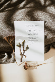 GRETA | Watercolor Joshua Tree Printable Save the Date Template